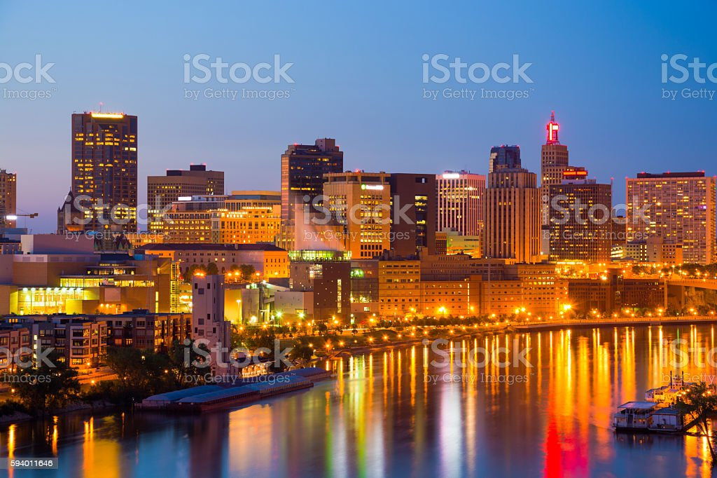 Saint Paul at Dusk with River, Backlit stock photo