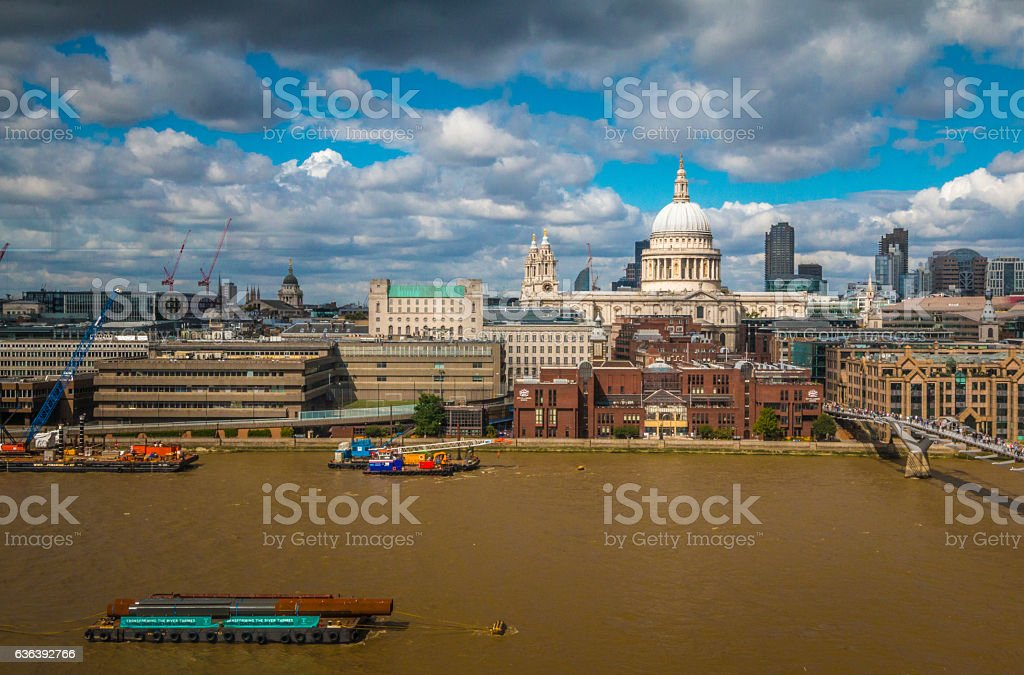 Saint Paul Cathedral view in London England stock photo