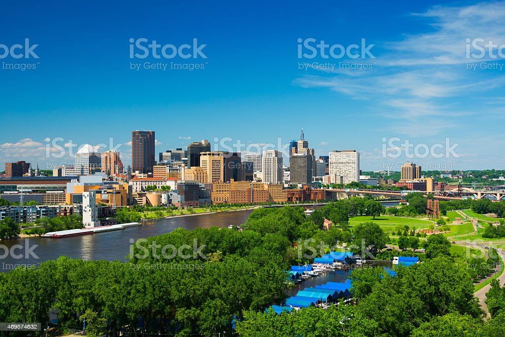 Saint Paul, Minnesota skyline with a river and park stock photo