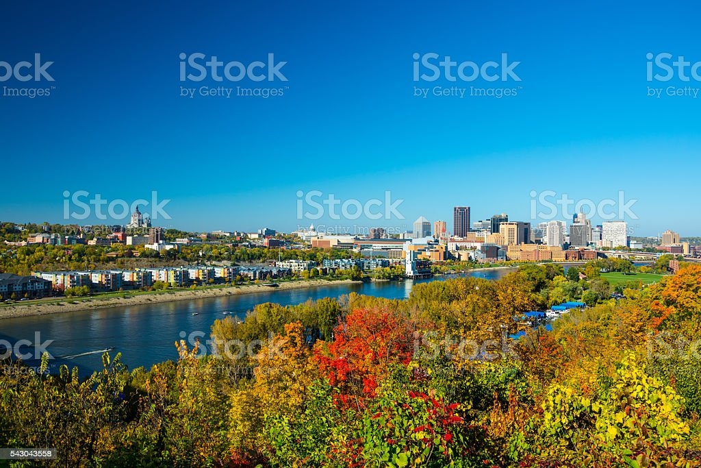 Saint Paul Skyline with River and Trees during Autumn stock photo