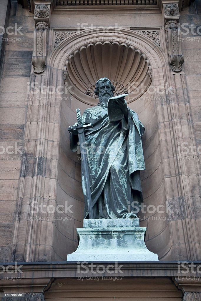 Saint Paul Statue with Green Patina in Stone Alcove royalty-free stock photo