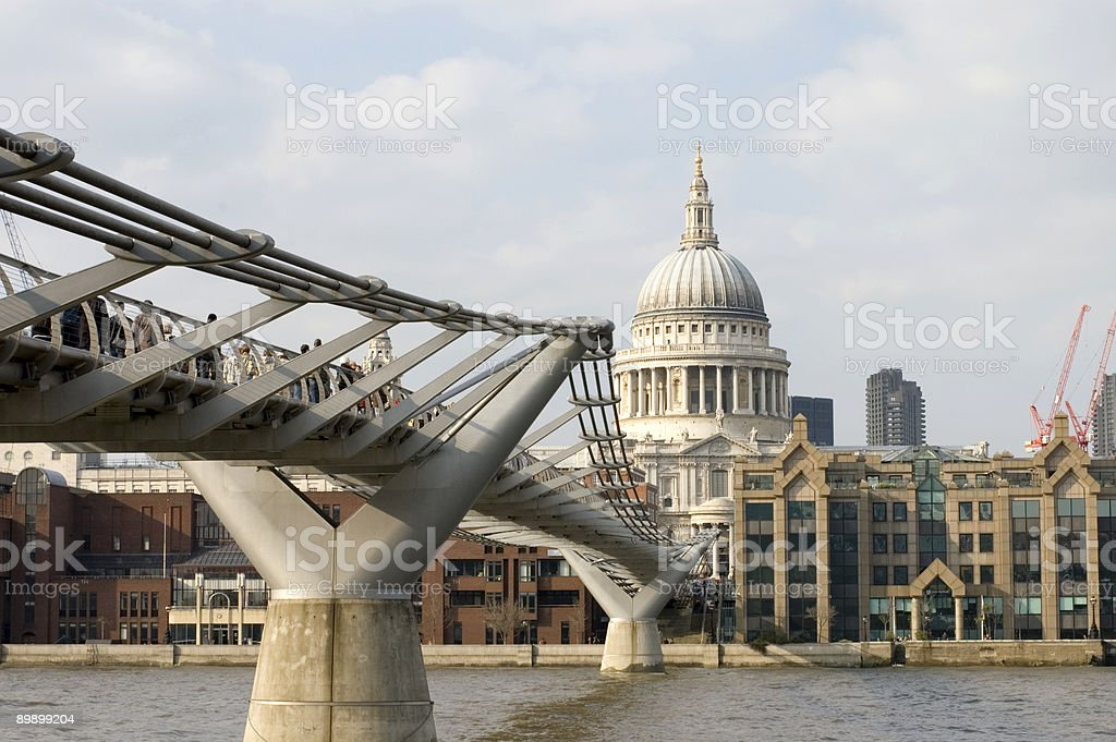 Saint Paul's cathedral and Millenium bridge royalty-free stock photo