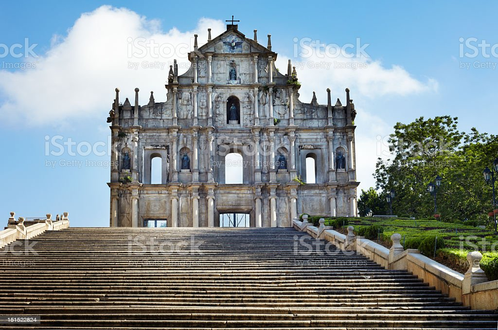 Saint Pauls ruins in Macau China on a sunny day stock photo