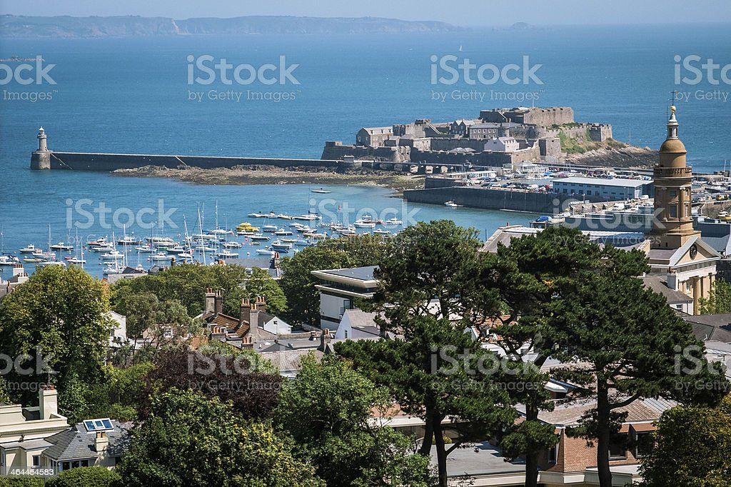 Saint Peter Port, viewed from Elizabeth Tower stock photo