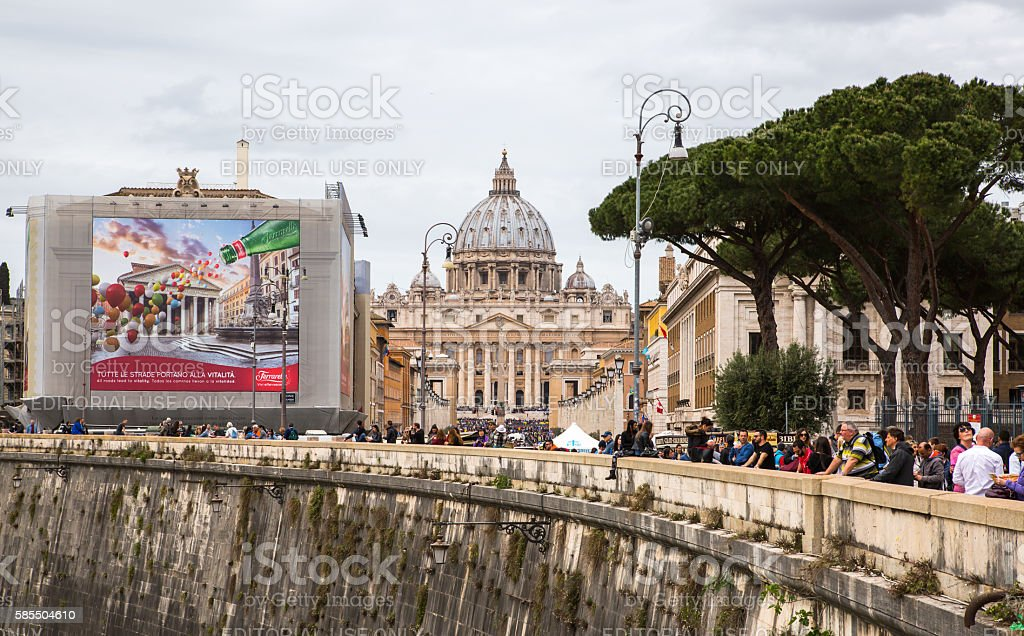 Saint Peter's basilica in the St. Peter square. Vatican stock photo