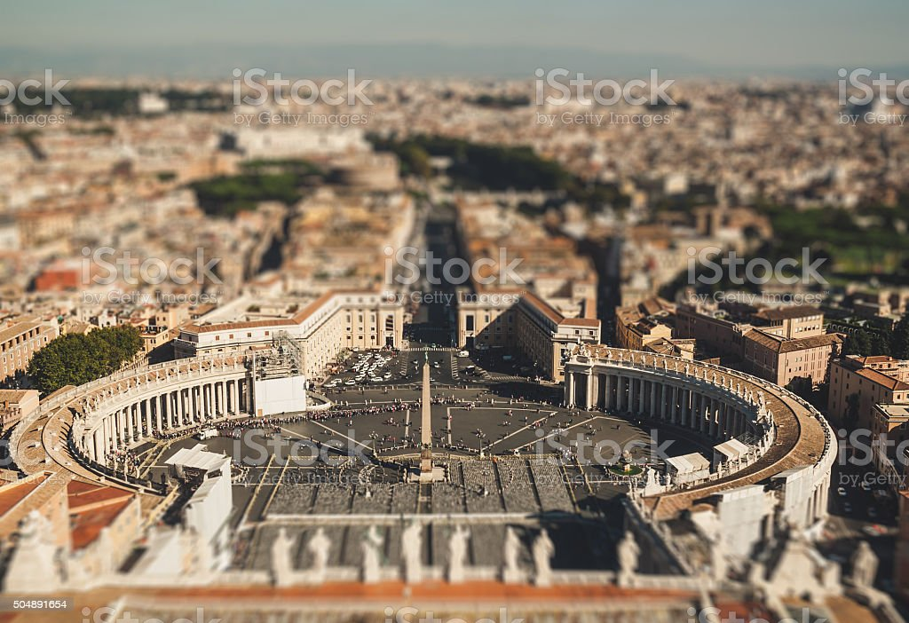 Saint Peter's Square in Vatican in Rome. Italy stock photo