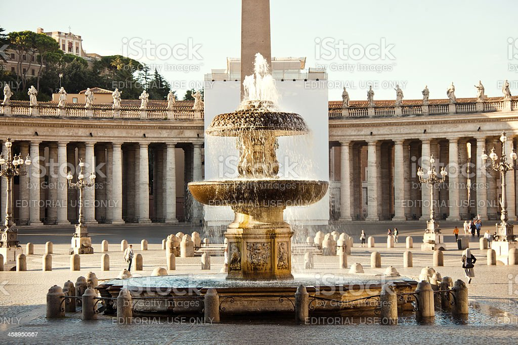 Saint Peters square with fountain royalty-free stock photo