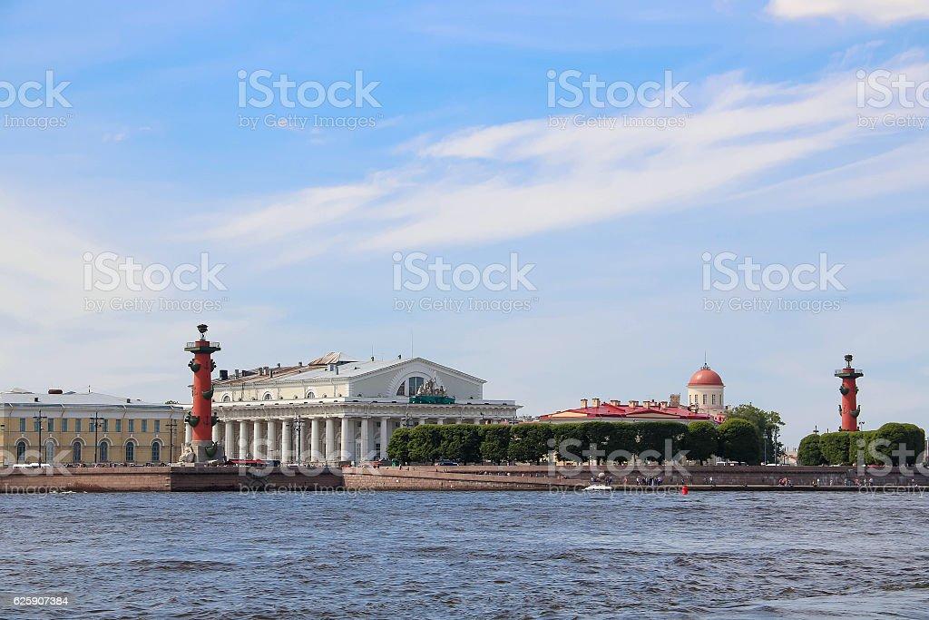 Saint Petersburg Rostral columns stock photo
