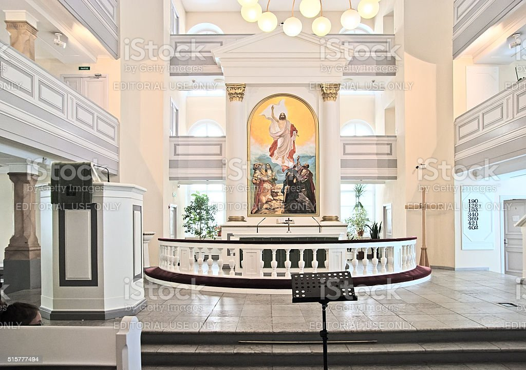 Saint - Petersburg. Russia. People in Saint Mary Church stock photo