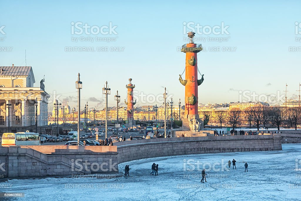 Saint – Petersburg. Russia. People on the frozen Neva River stock photo