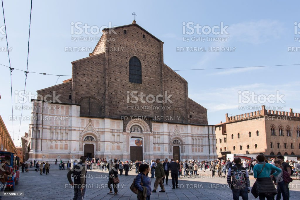 Saint Petronio Cathedral in Bologna stock photo