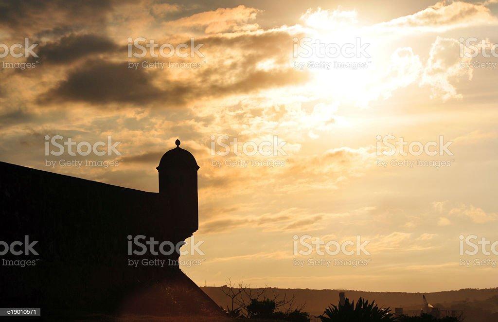 Saint Phillip fort, Puerto Plata, Dominican republic, guerite at sunset stock photo