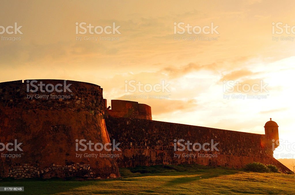 Saint Phillip fort, Puerto Plata, Dominican republic - sunset stock photo