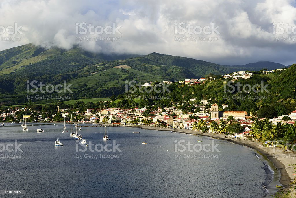 Saint Pierre and Mount Pelee on Martinique stock photo