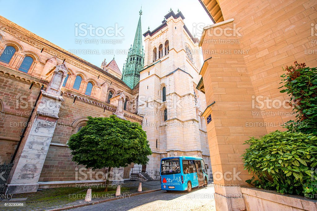 Saint Pierre church in Geneva stock photo