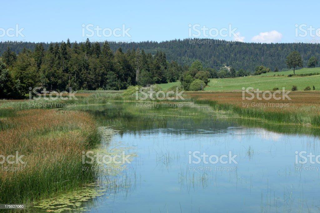 Saint Point lake in Franche Comté, France stock photo