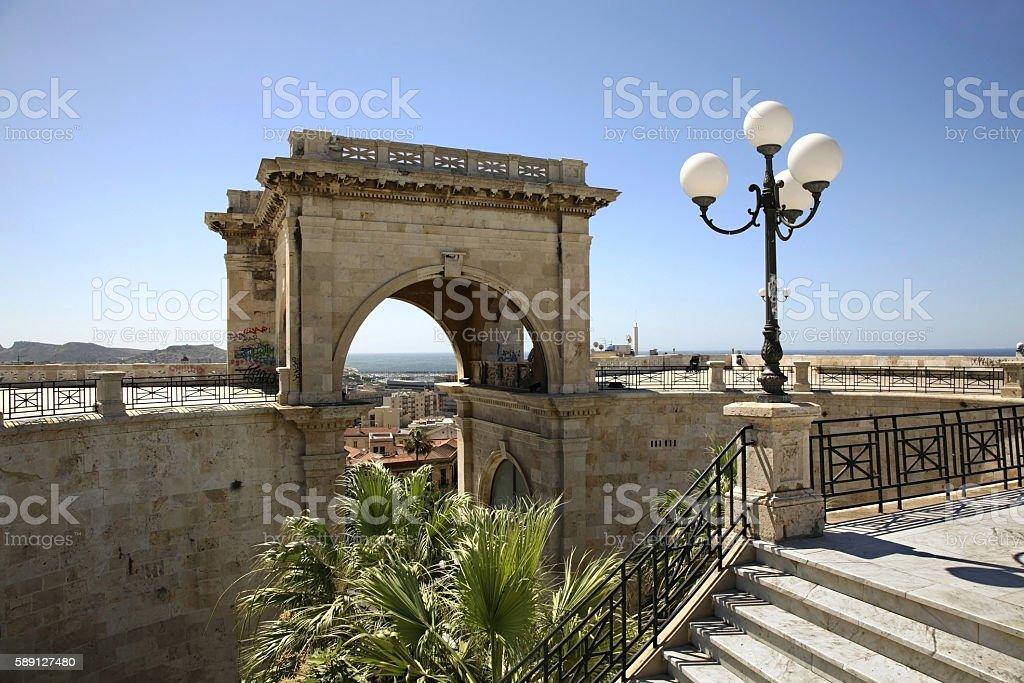 Saint Remy Bastion in Cagliari. Sardinia. Italy stock photo