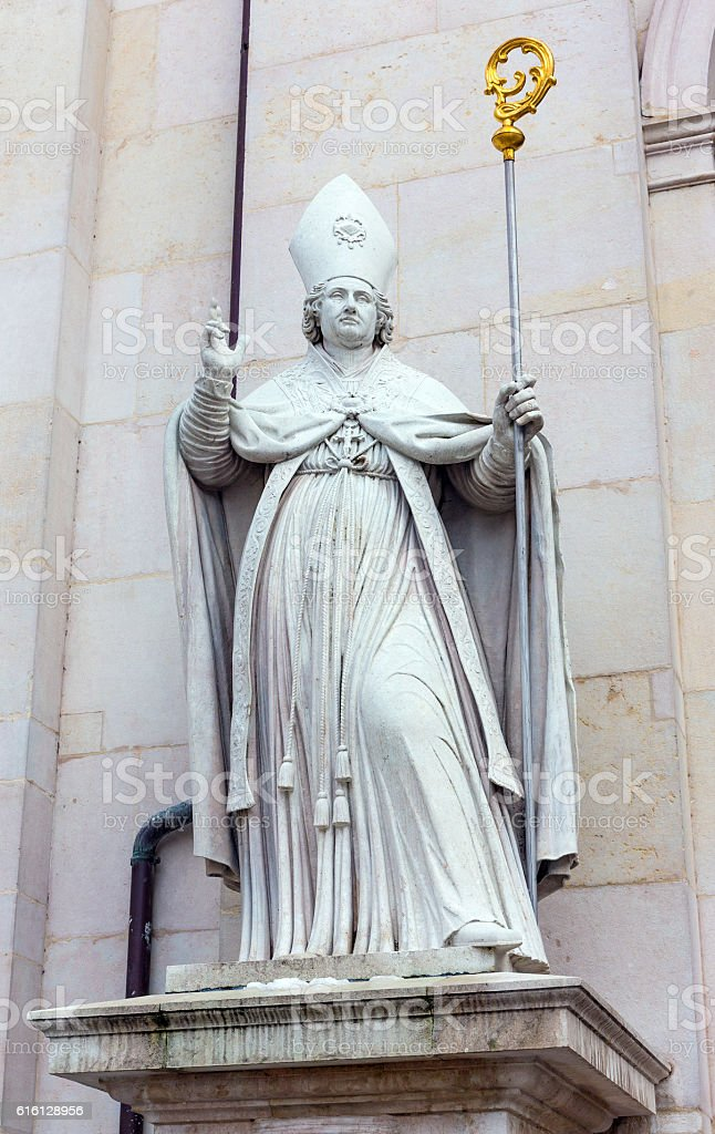 Saint Rupert statue at Salzburg Cathedral, Austria stock photo