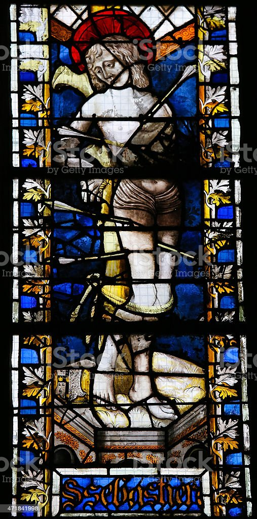 Saint Sebastian - Stained Glass in Rouen Cathedral stock photo