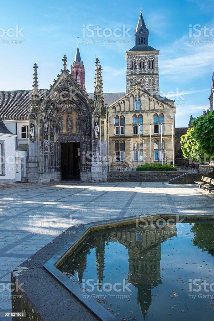 Saint Servatius Basilica entrance in Maastricht stock photo