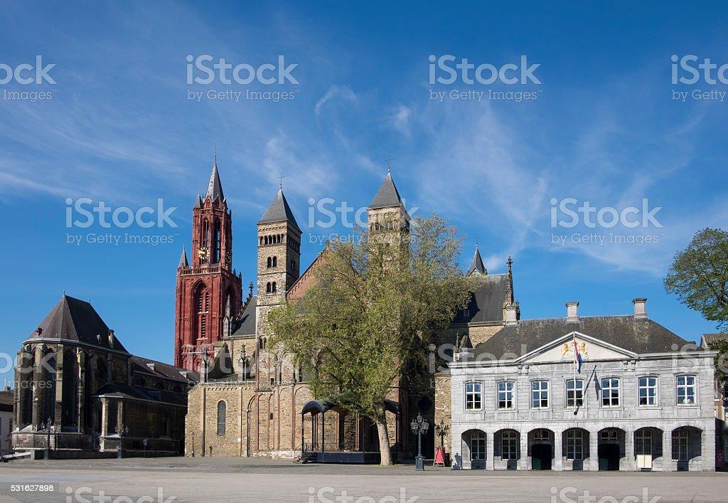 Saint Servatius Basilica, Saint John's church at Vrijthof in Maastriht stock photo
