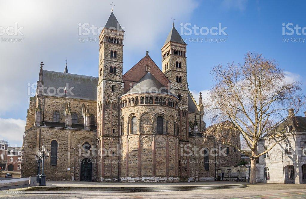 Saint Servatius church at the Vrijthof in Maastricht stock photo