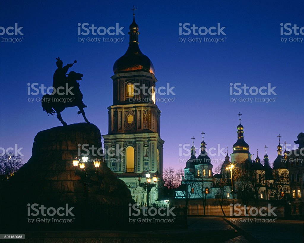 Saint Sophia's Cathedral and Bohdan Khmelnytsky monument in even stock photo