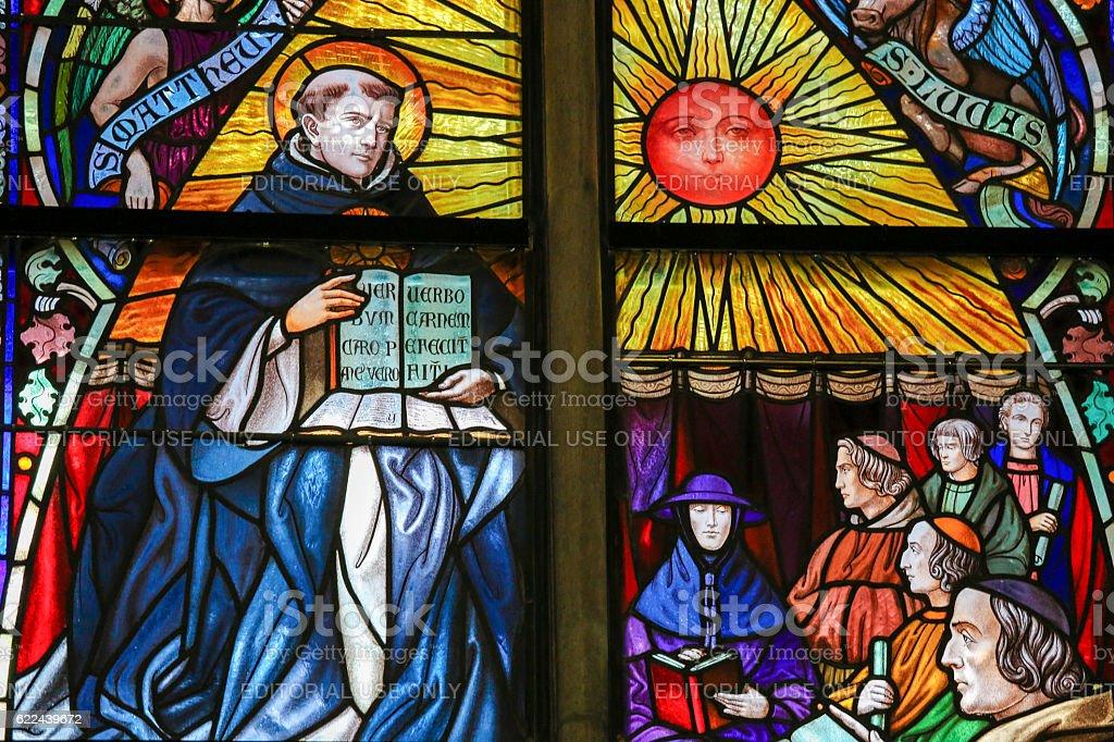 Saint Thomas Aquinas - Stained Glass stock photo