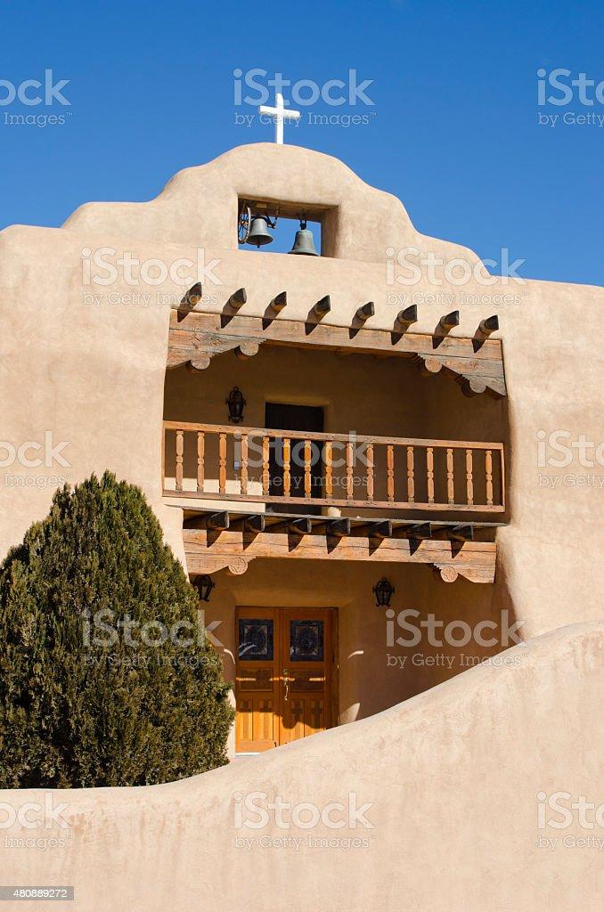 Saint Thomas The Apostle Church in Abiquiu, New Mexico stock photo