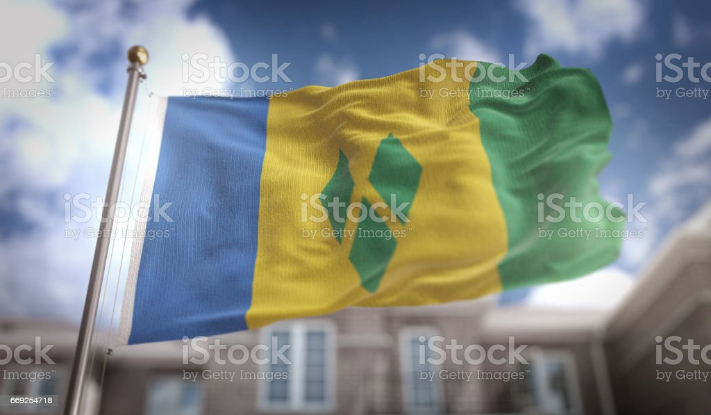 Saint Vincent and the Grenadines Flag 3D Rendering on Blue Sky Building Background stock photo