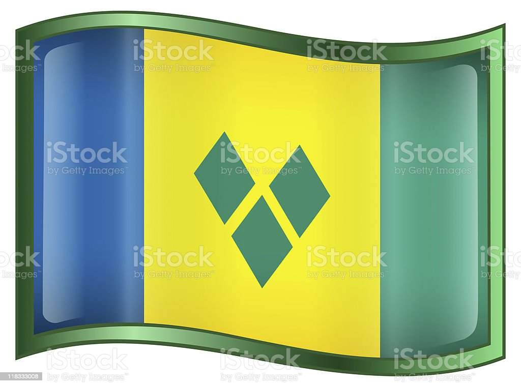 Saint Vincent and the Grenadines Flag Icon stock photo