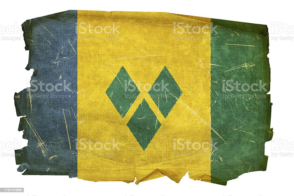 Saint Vincent and the Grenadines flag old. stock photo