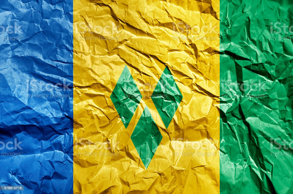 Saint Vincent and the Grenadines flag painted on crumpled paper stock photo