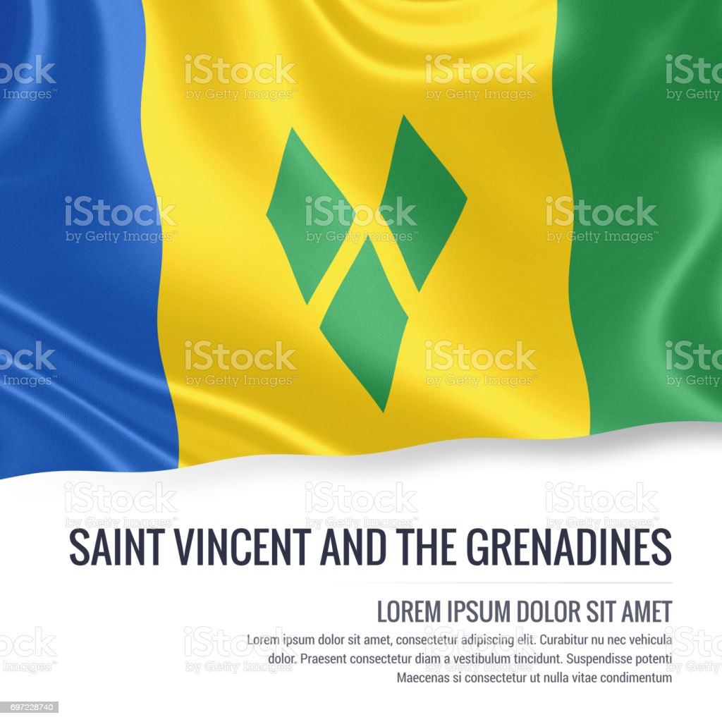 Saint Vincent and the Grenadines flag. Silky flag of Saint Vincent and the Grenadines waving on an isolated white background with the white text area for your advert message. 3D rendering. stock photo