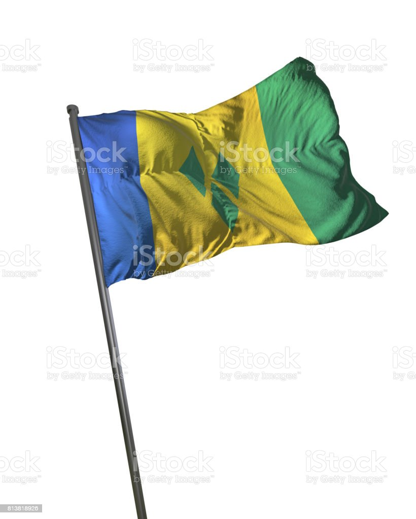 Saint Vincent and the Grenadines Flag Waving Isolated on White Background Portrait stock photo