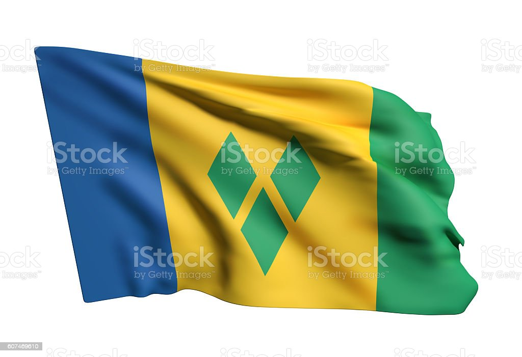 Saint Vincent and the Grenadines flag waving stock photo