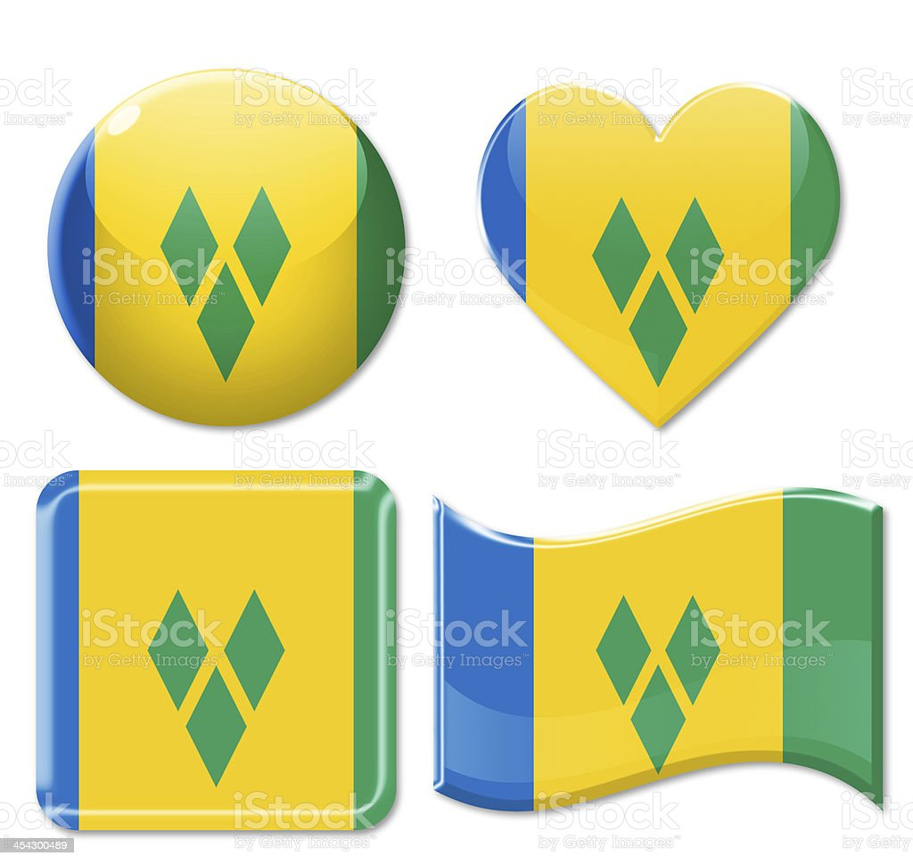 Saint Vincent And The Grenadines Flags & Icon Set stock photo