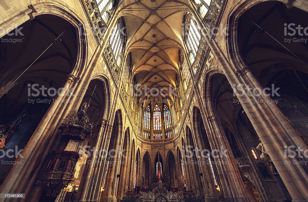 Saint Vitus Cathedral Interior royalty-free stock photo