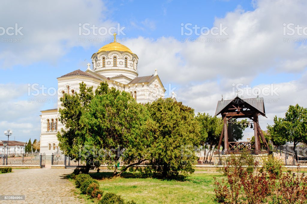 Saint Vladimir Cathedral, a Neo-Byzantine Russian Orthodox cathedral on the site of Chersonesos Taurica. stock photo