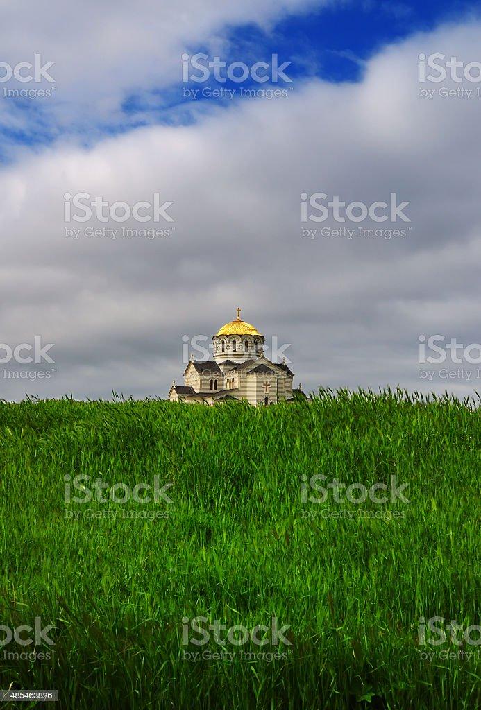 Saint Vladimir Cathedral in reserve Chersonese, Sevastopol stock photo