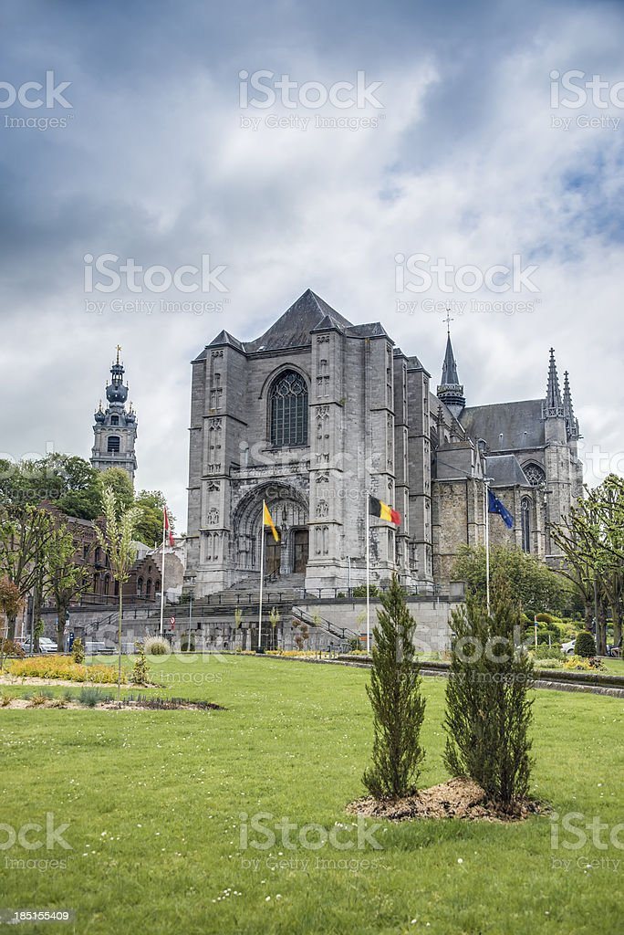 Saint Waltrude church in Mons, Belgium. stock photo
