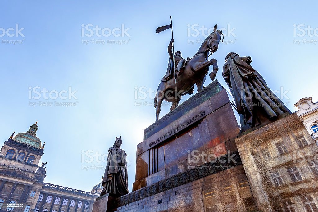 Saint Wenceslas statue on Vaclavske Namesti in Prague stock photo