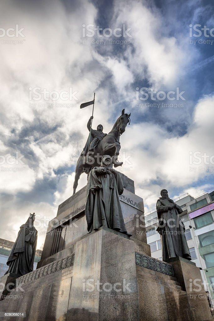 Saint Wenceslas statue on Vaclavske Namesti in Prague stock photo
