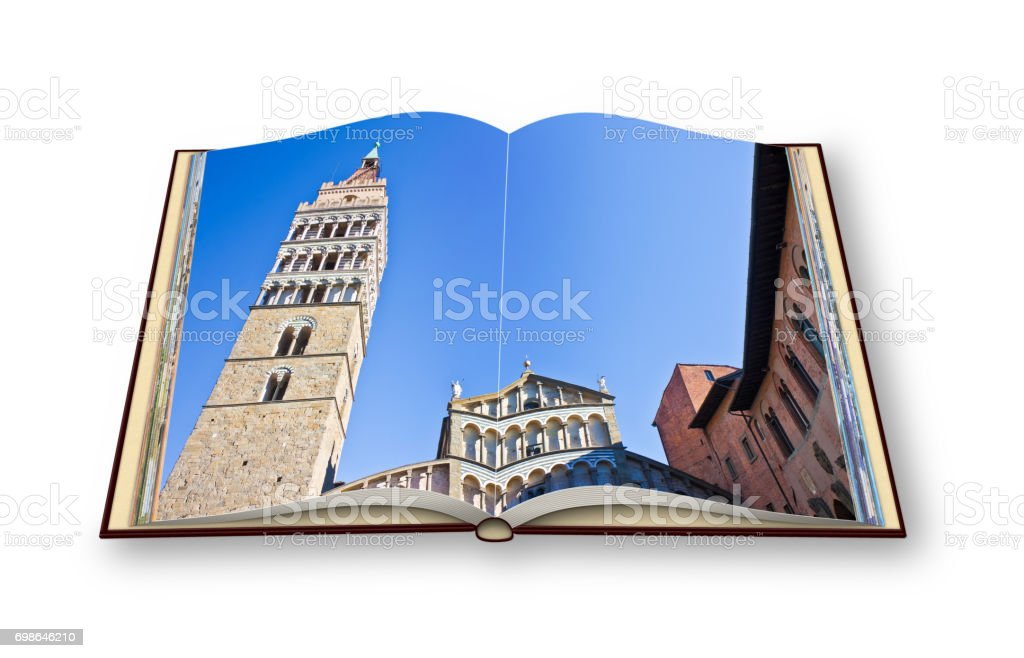 Saint Zeno cathedral church in Pistoia city (Tuscany - Italy) - 3D render of an opened photo book isolated on white background. I'm the copyright owner of the images used in this 3D render. stock photo