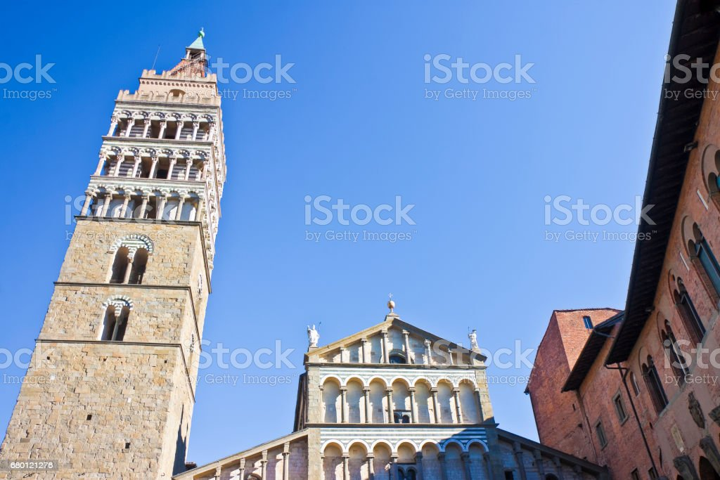 Saint Zeno cathedral church in Pistoia city - On the right the Episcopal Palace (Tuscany - Italy) stock photo