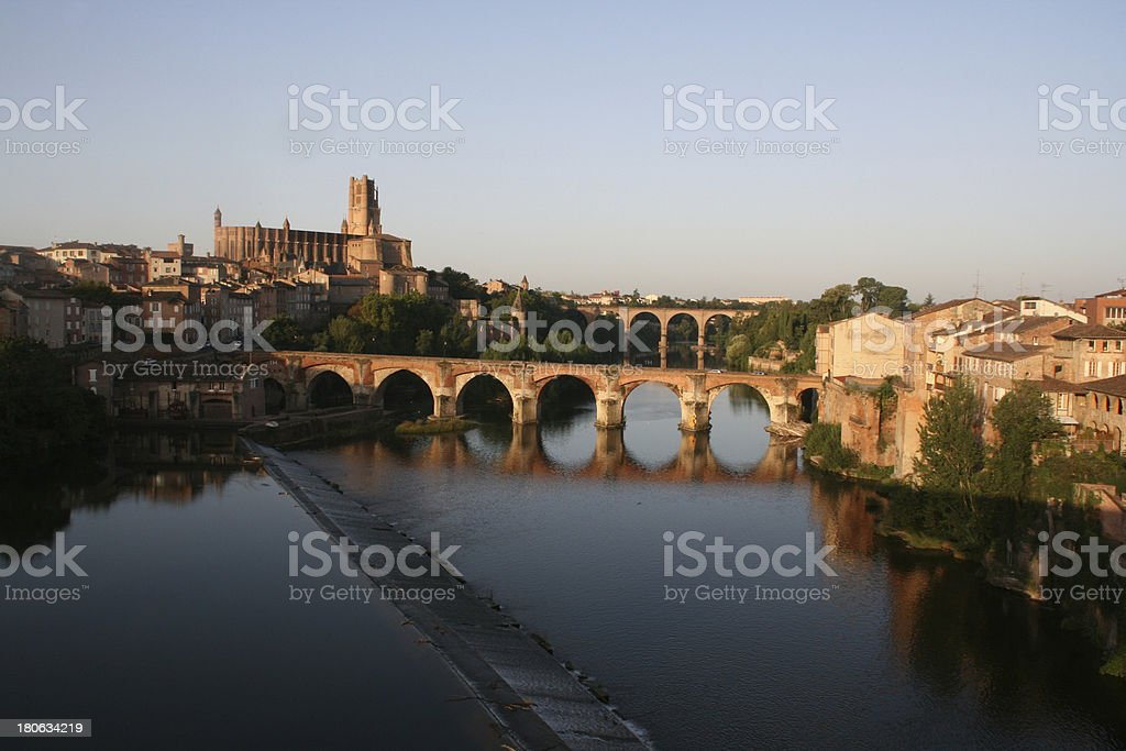 Sainte Cecile Cathedral overlooking Tarn river, Albi, France. royalty-free stock photo