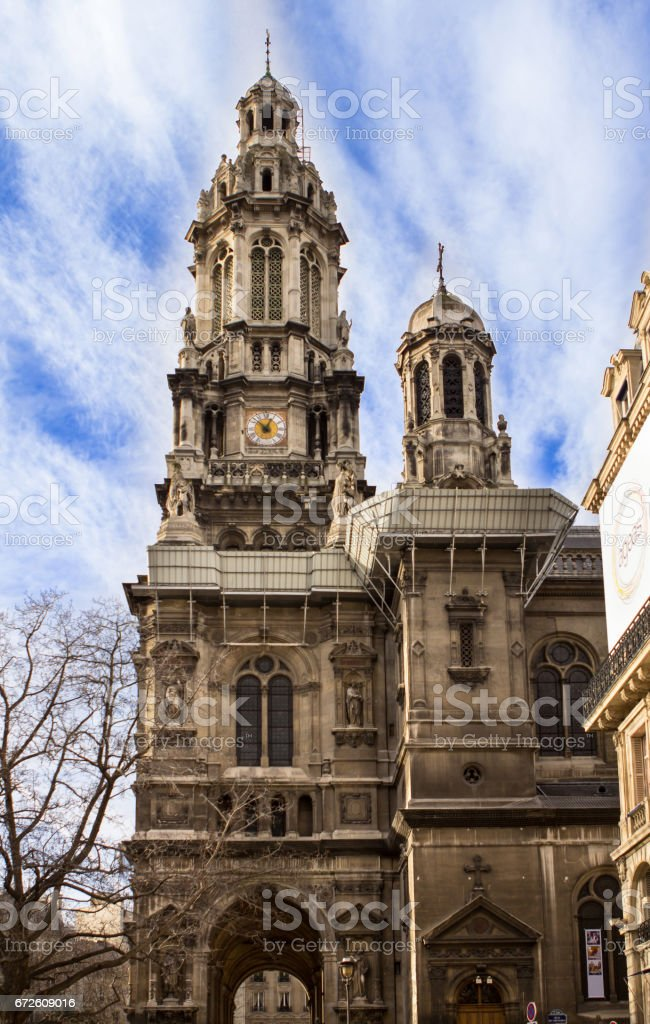 Sainte Trinite church, Paris stock photo
