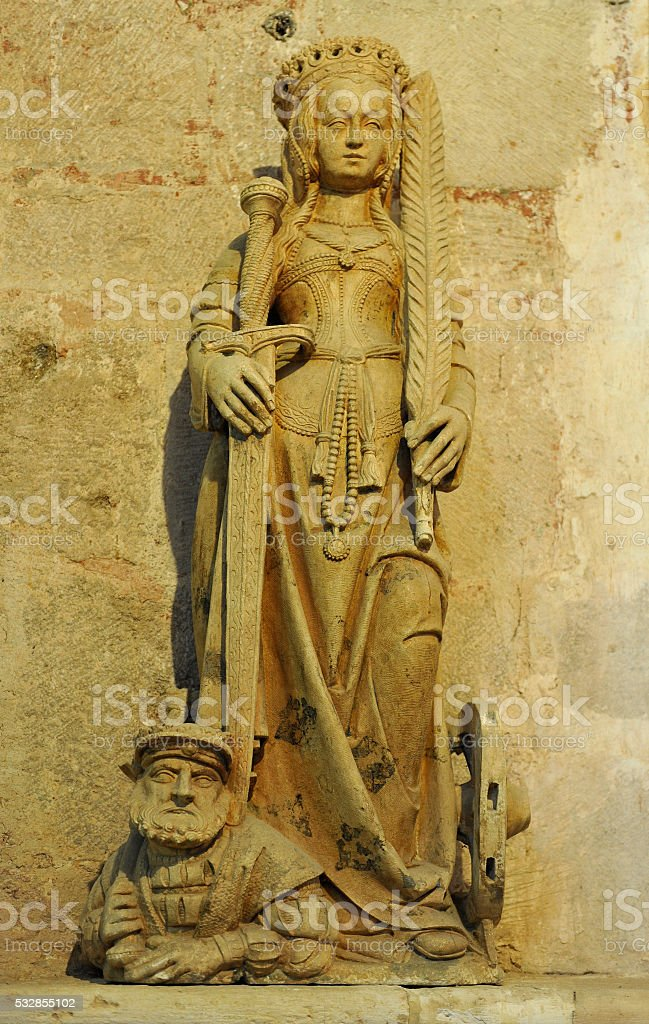 Sainte-Catherine statue in the abbey of Baume-les-Messieurs stock photo