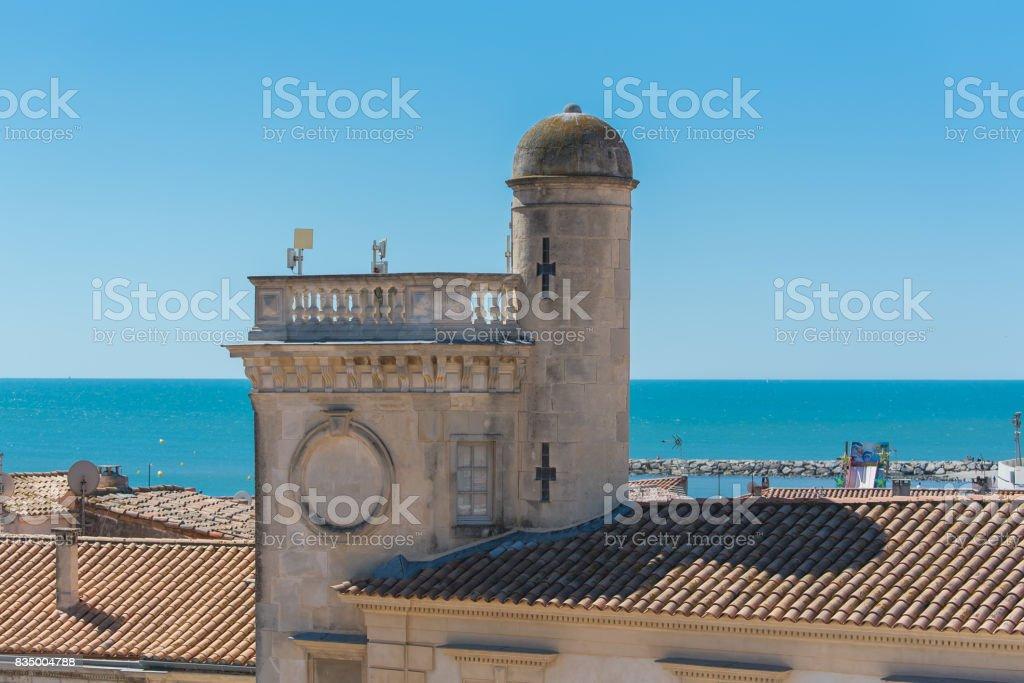 Saintes-Maries-de-la-Mer in Camargue, panorama stock photo
