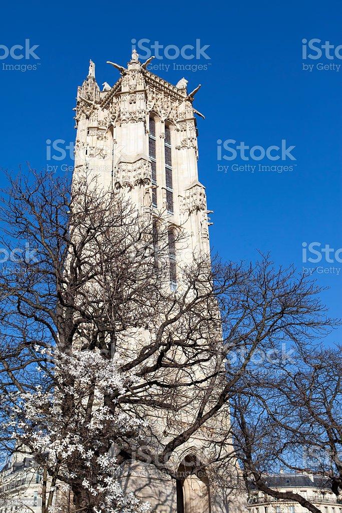 Saint-Jacques Tower on Rivoli street in Paris, France. stock photo